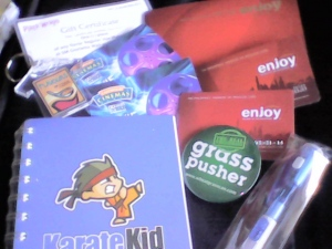 Movie passes from Eastwood Cinemas, complimentary membership from Enjoy Philippines, button pin from Wheatgrass Honey, notebook from Karate Kid, pen from Fujidenzo, GC from Plato Wraps
