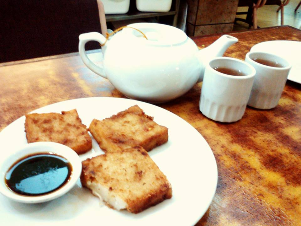 Delectable radish cake and the service tea